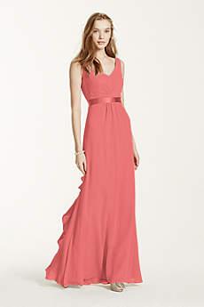 Coral color bridesmaids dresses