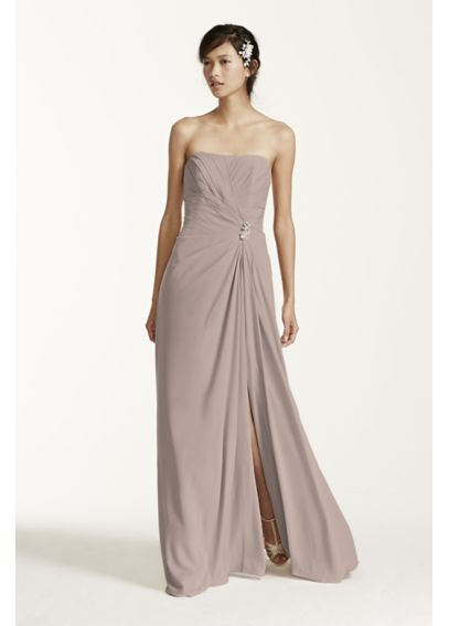 Long Strapless Crepe Dress with Brooch F15532