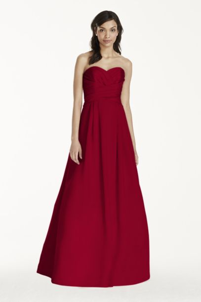 Strapless Satin Pleated Bodice Ball Gown - Davids Bridal
