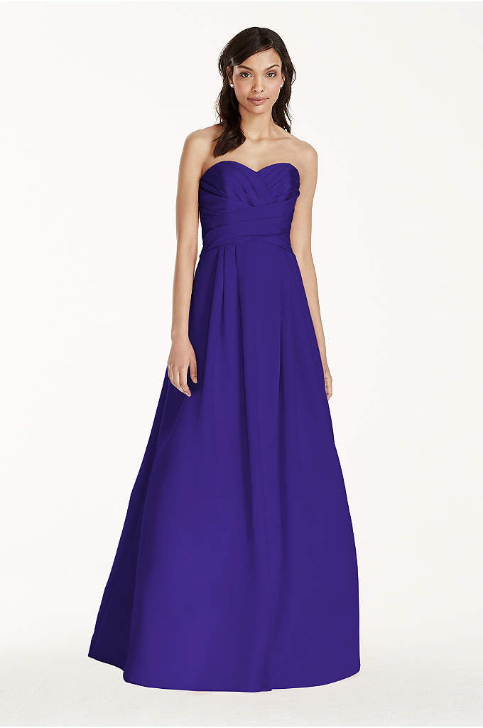 Strapless Satin Pleated Bodice Ball Gown - Elegant and timeless, this satin number will look