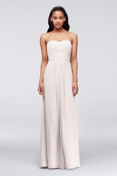 Long Strapless Chiffon Dress with Pleated Bodice | David's Bridal