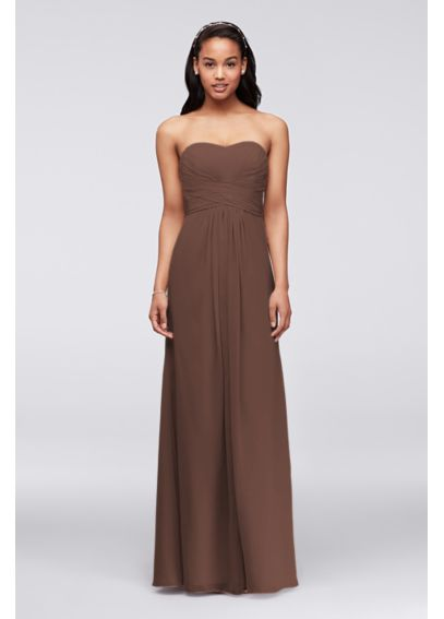 Long Strapless Chiffon Dress with Pleated Bodice F15555