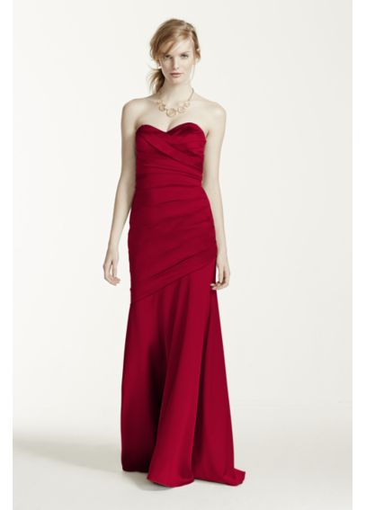 Long Sweetheart Neck Stretch Satin Dress F15586