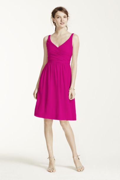Short Chiffon V-Neck Dress with Ruching - Davids Bridal