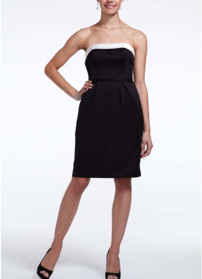 Short Black David's Bridal Bridesmaid Dress