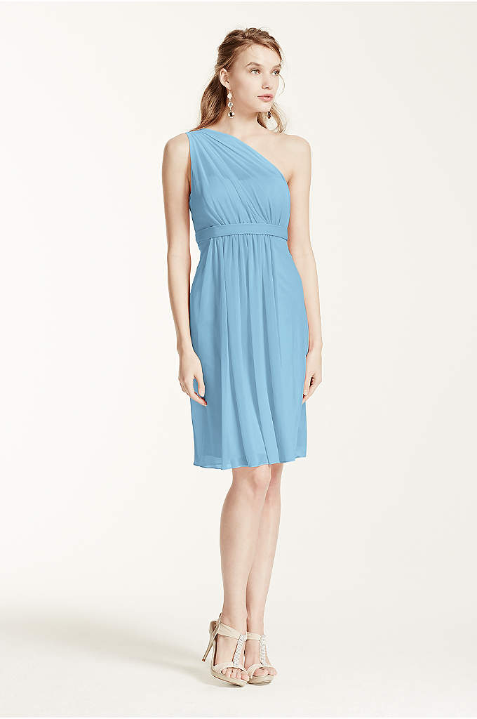 One Shoulder Short Dress with Illusion Neck - A flawless short and chic bridesmaid dress that