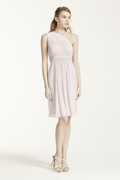 One Shoulder Short Dress with Illusion Neckline - Davids Bridal