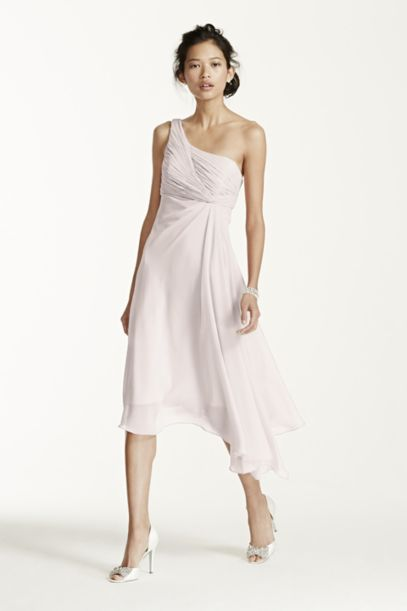 Short One Shoulder Chiffon Dress | David's Bridal