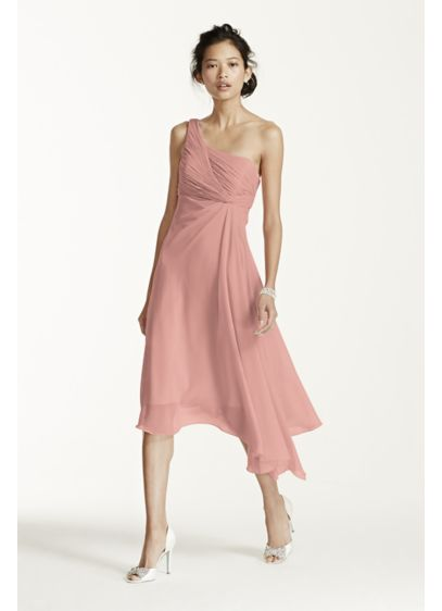 Short Blue Soft & Flowy David's Bridal Bridesmaid Dress