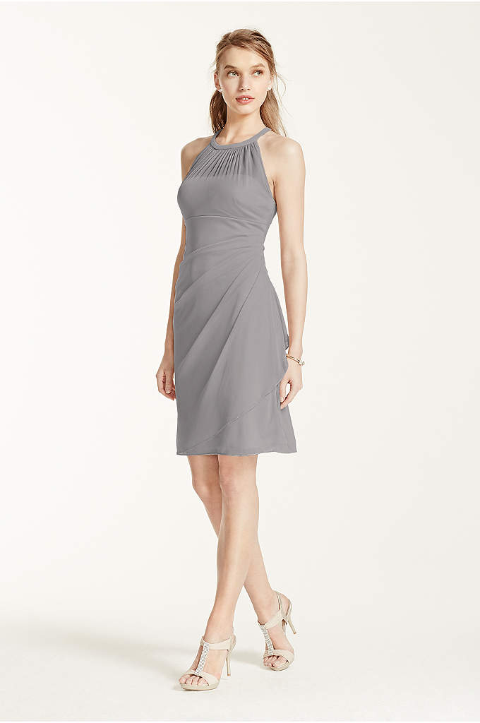 Sleeveless Short Mesh Dress with Side Cascade - A stylish, short and chic bridesmaid dress that