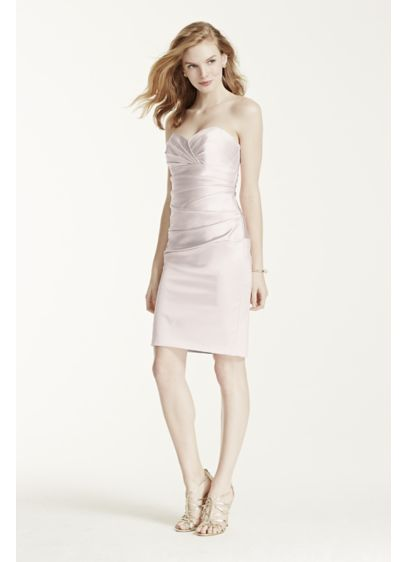 Short Pink Structured David's Bridal Bridesmaid Dress