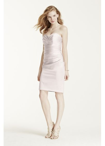 Short Stretch Satin Dress with Sweetheart Neckline F15615