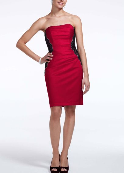 Short Strapless Satin Dress with Lace Bands F15629