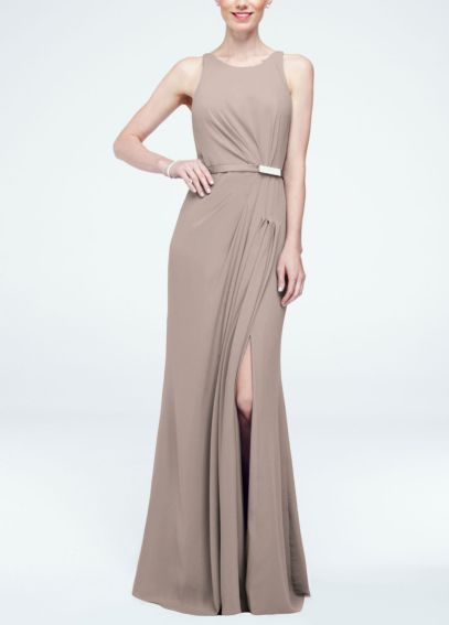 Long Sleevless Crepe Dress with Embellished Belt F15638