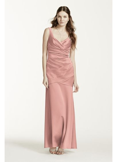 Red Structured David's Bridal Bridesmaid Dress