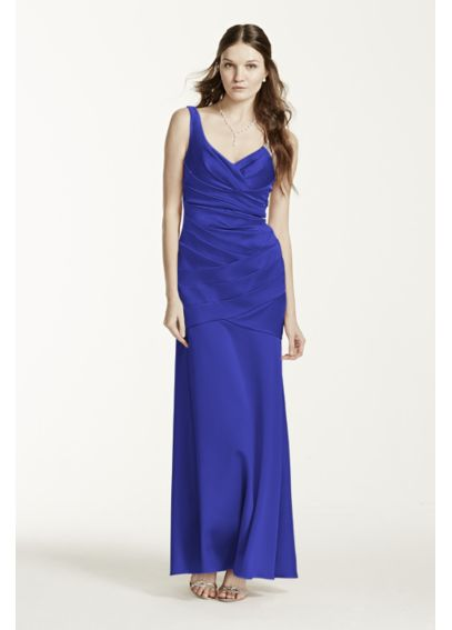 Long Sleeveless Stretch Satin Dress F15652