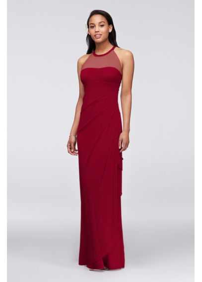 Long Mesh Dress with Illusion Neckline F15662