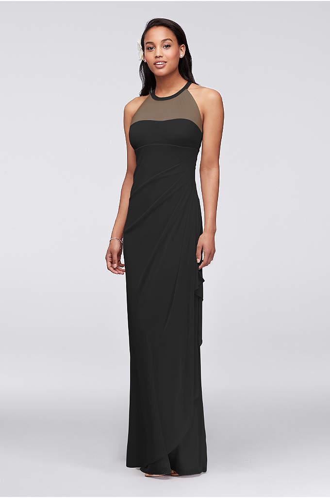 Long Mesh Dress with Illusion Neckline