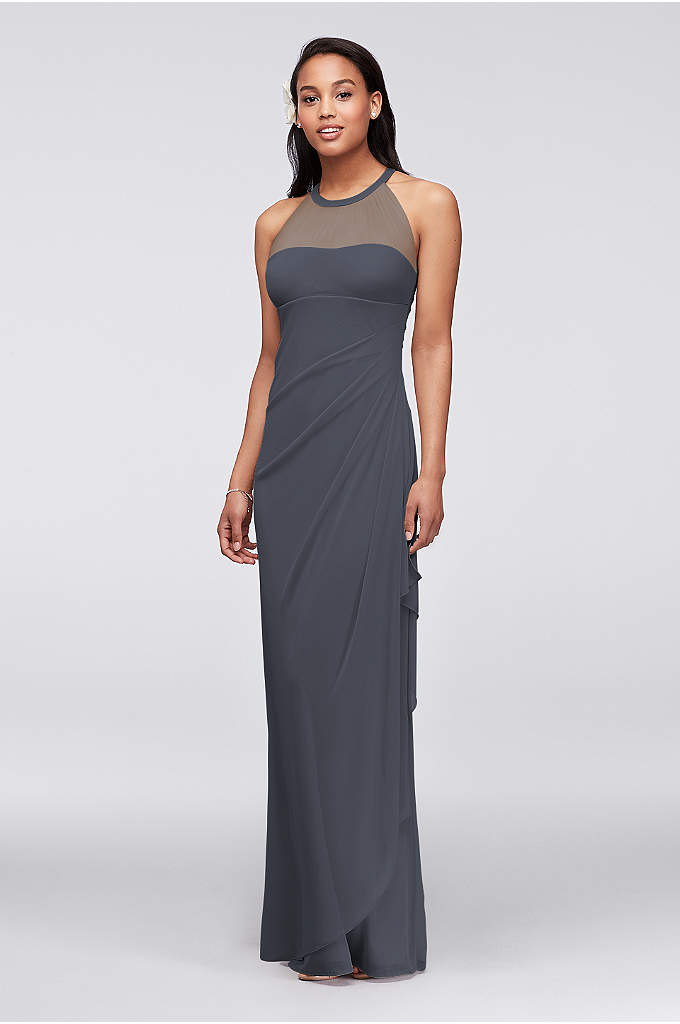 Long Mesh Dress with Illusion Neckline - Ultra-feminine and unique this bridesmaid dress has unparalleled