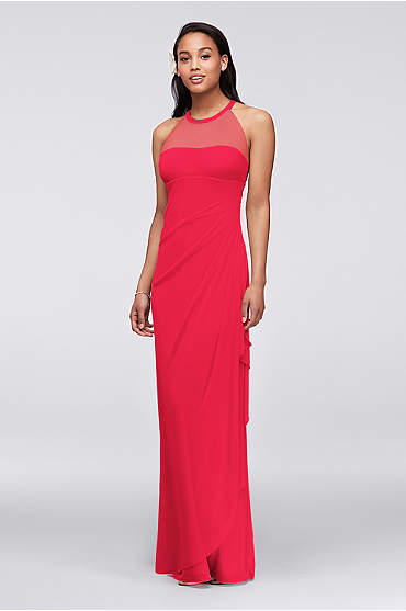 Sleeveless Long Mesh Dress with Illusion Neckline