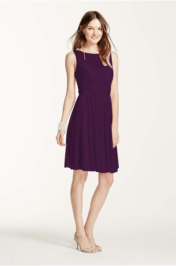 Short Mesh Dress with Sweetheart Illusion Neckline - Your bridesmaids will love this short & chic