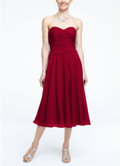 Tea Length Sheath Strapless Dress - David's Bridal