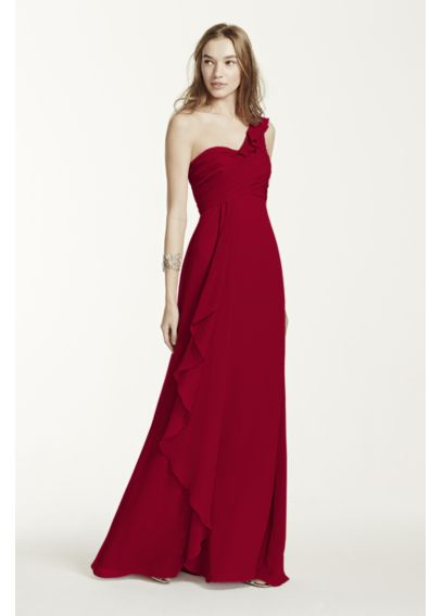 One Shoulder Chiffon Dress with Cascading Detail F15734
