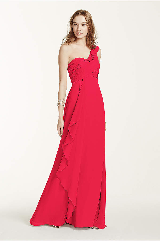 One Shoulder Chiffon Dress with Cascading Detail - This long chiffon bridesmaid dress is designed for