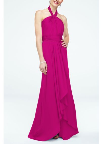 Long Matte Charmeuse Dress with Y Neckline F15736