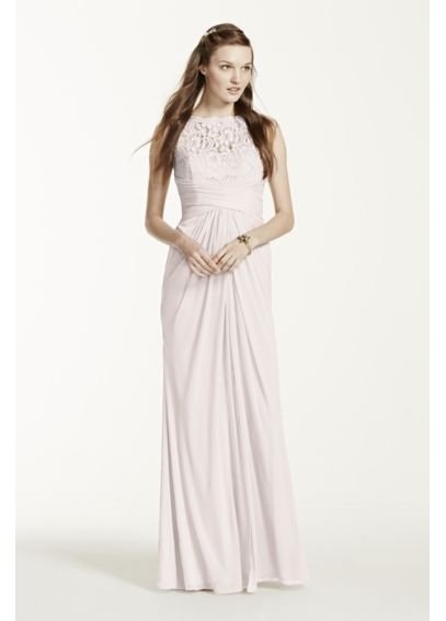 Sleeveless Long Mesh Dress with Corded Lace F15749