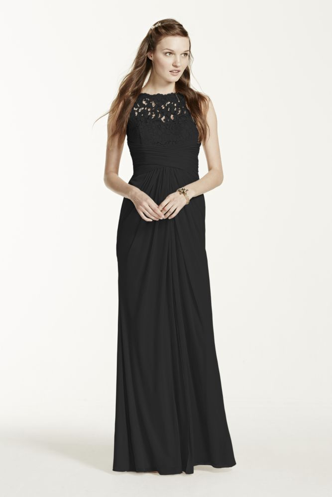 Sleeveless Long Mesh Dress with Corded Lace Style F15749 ... - photo #13