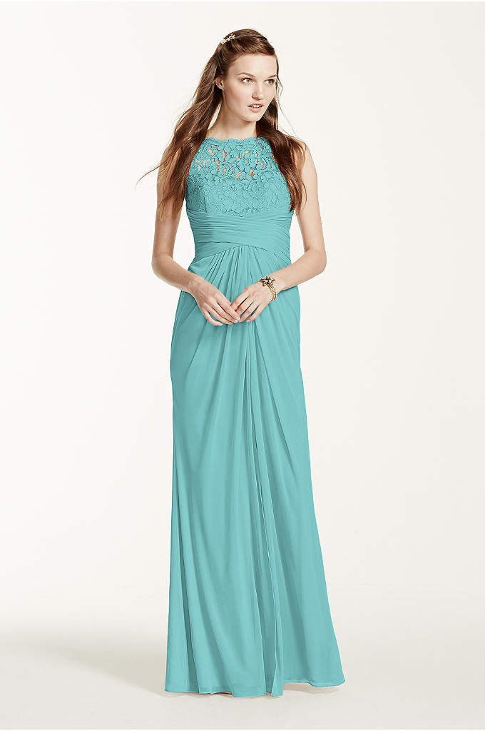 Sleeveless Long Mesh Dress with Corded Lace - Simply elegant in design, your bridal party will