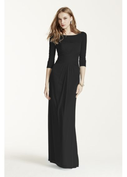 Long Mesh Dress with Illusion Sleeves F15757