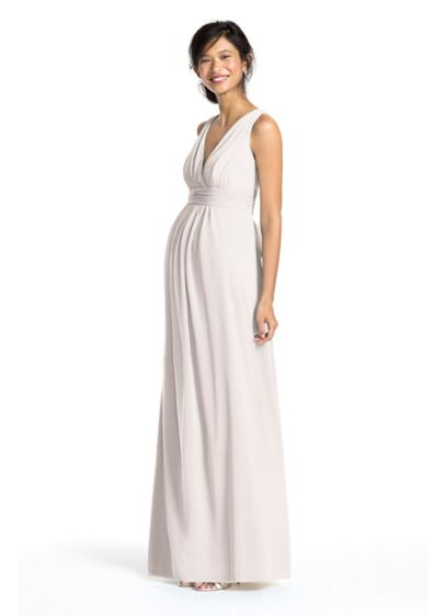 Long mesh empire maternity dress with sash david39s bridal for Davids bridal maternity wedding dress