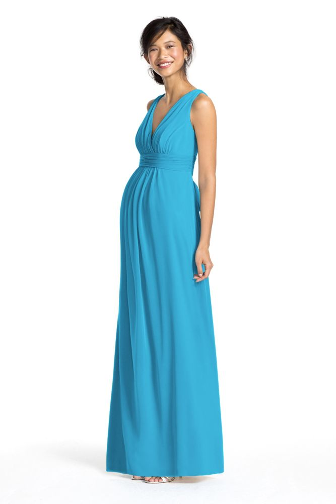 David39s bridal long mesh empire maternity dress with sash for Davids bridal maternity wedding dress