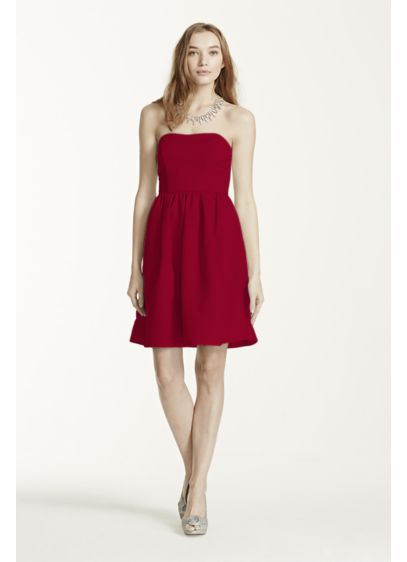 Short Red Structured David's Bridal Bridesmaid Dress