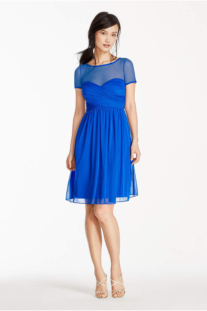 Illusion Short Sleeve Mesh Dress - This pleated bodice dress is a stylish choice
