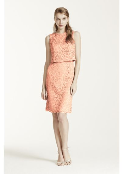Short Lace Dress with Removable Popover Top F15920