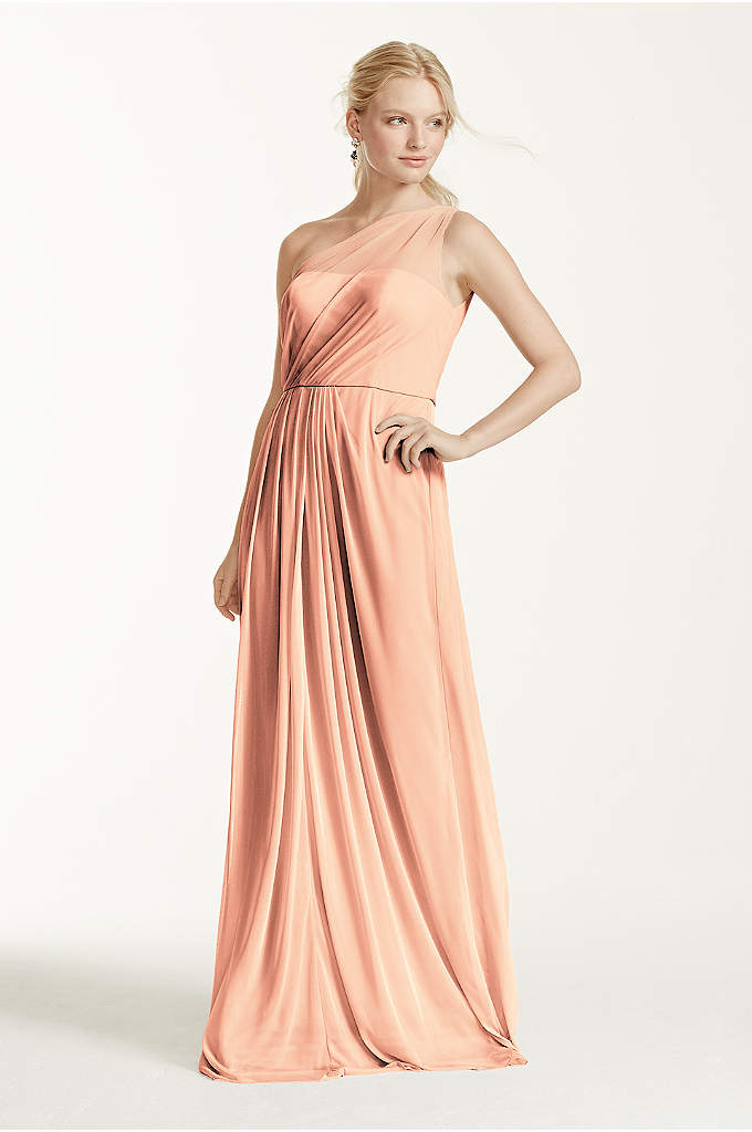 Long Mesh Dress with One Shoulder Neckline - Let your inner goddess shine in this timeless,