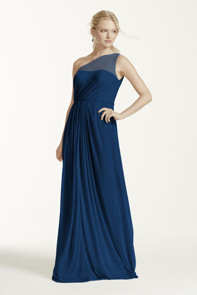 David 39 s bridal long mesh dress with one shoulder neckline for Marine wedding bridesmaid dresses