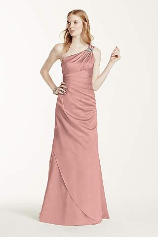 Vestido Largo de Satín con un Hombro y Pedrería