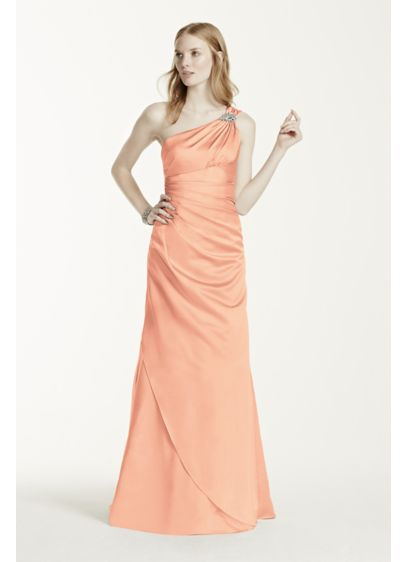 Long Orange Structured David's Bridal Bridesmaid Dress