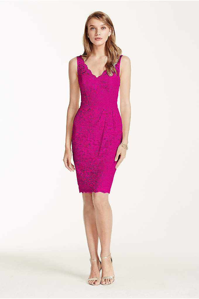 Short Tank Lace Dress with V Neckline - A classic lace dress brings an ultra-feminine appeal