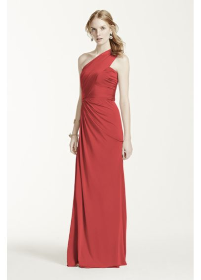 Long One Shoulder Jersey Gown F15969