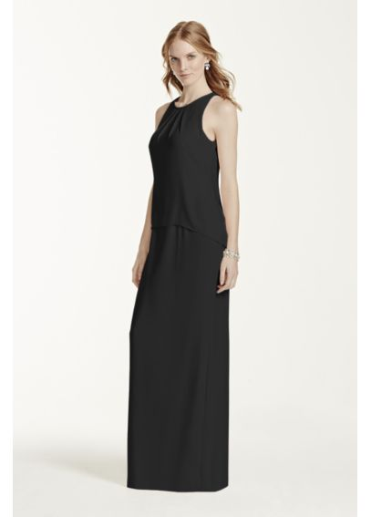Long Open Back Matte Crepe Dress F15978