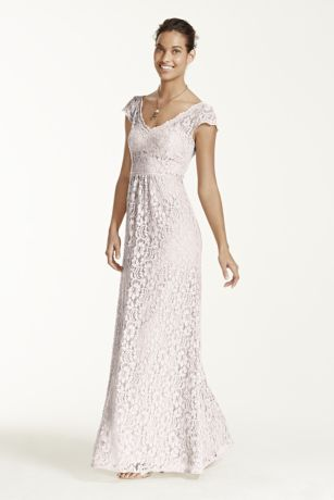 Long lace dress with cap sleeves