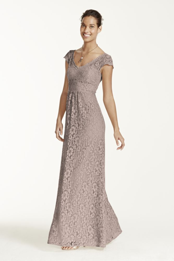 Lace Wedding Dress With Cap Sleeves Style D1919 : Long cap sleeve lace dress style f
