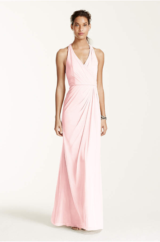 Long Mesh T-strap Back Halter - This contemporary T-strap back halter dress is truly