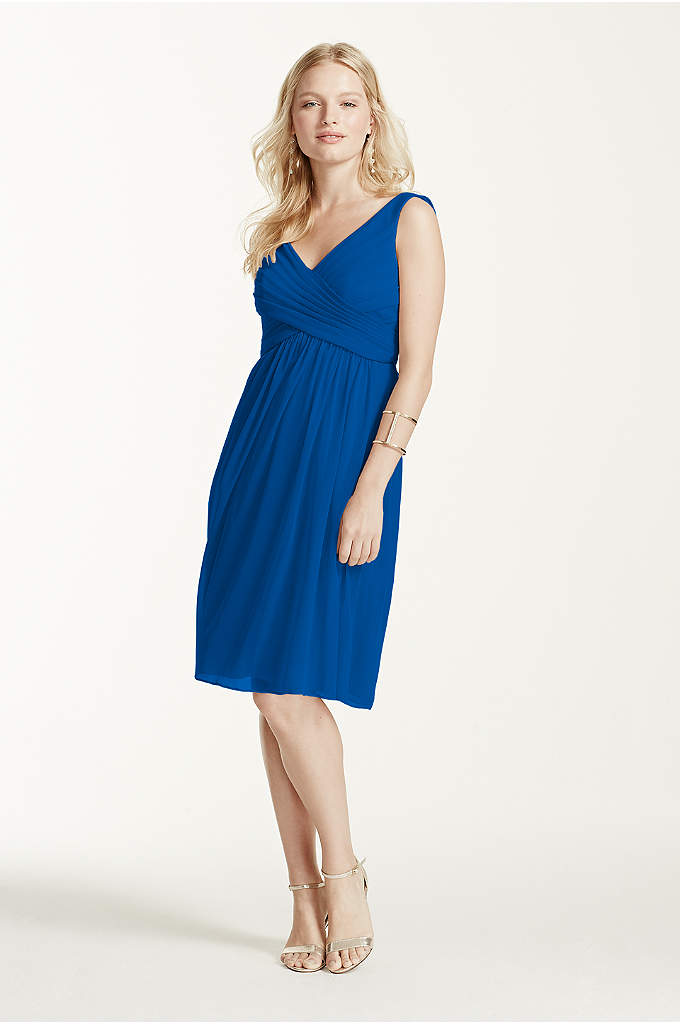 Short Mesh Bridesmaid Dress with Cowl Back - This tank bridesmaid dress is full of fun