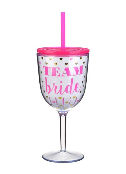 Pink (Team Bride Hearts Wine Glass)